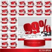 Red collection discount  5  10 15 20 25 30 35 40 45 50 55 60 65  — Stockvektor
