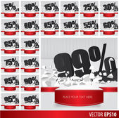 Black collection discount  5  10 15 20 25 30 35 40 45 50 55 60 6 — Vector de stock