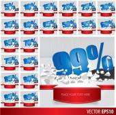 Blue collection discount  5  10 15 20 25 30 35 40 45 50 55 60 65 — Stock Vector