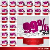 Purple collection discount  5  10 15 20 25 30 35 40 45 50 55 60 — Stock Vector