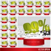 Green collection discount  5  10 15 20 25 30 35 40 45 50 55 60 6 — Vector de stock