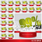 Green collection discount  5  10 15 20 25 30 35 40 45 50 55 60 6 — Stock Vector