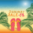 Summer discount of 5 percent on the sand with summer slippers — Stock Vector #75065767