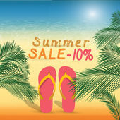 Summer discount of 10 percent on the sand with summer slippers . — Stock Vector