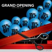 Shop grand opening - cutting red ribbon. — Stock Vector