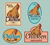 Chicken meat vintage labels — Stock Vector