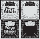 Vintage Happy Halloween greetings cards with pumpkin — Stock Vector