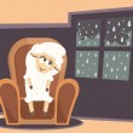 Vector illustration. Card with sad baby lamb. — Stock Vector #57750659
