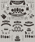 Set of birthday elements and objects. — Stock Vector