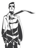 Vector silhouet van afgevaardigde met een stropdas — Stockvector