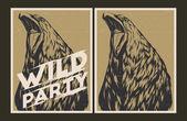 Wild party invitation template. — Stock Vector