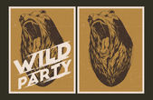 Wild party invitation template. — Vector de stock