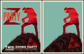 Zombie party poster set — Stock Vector