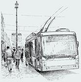 Остановка троллейбуса — Cтоковый вектор