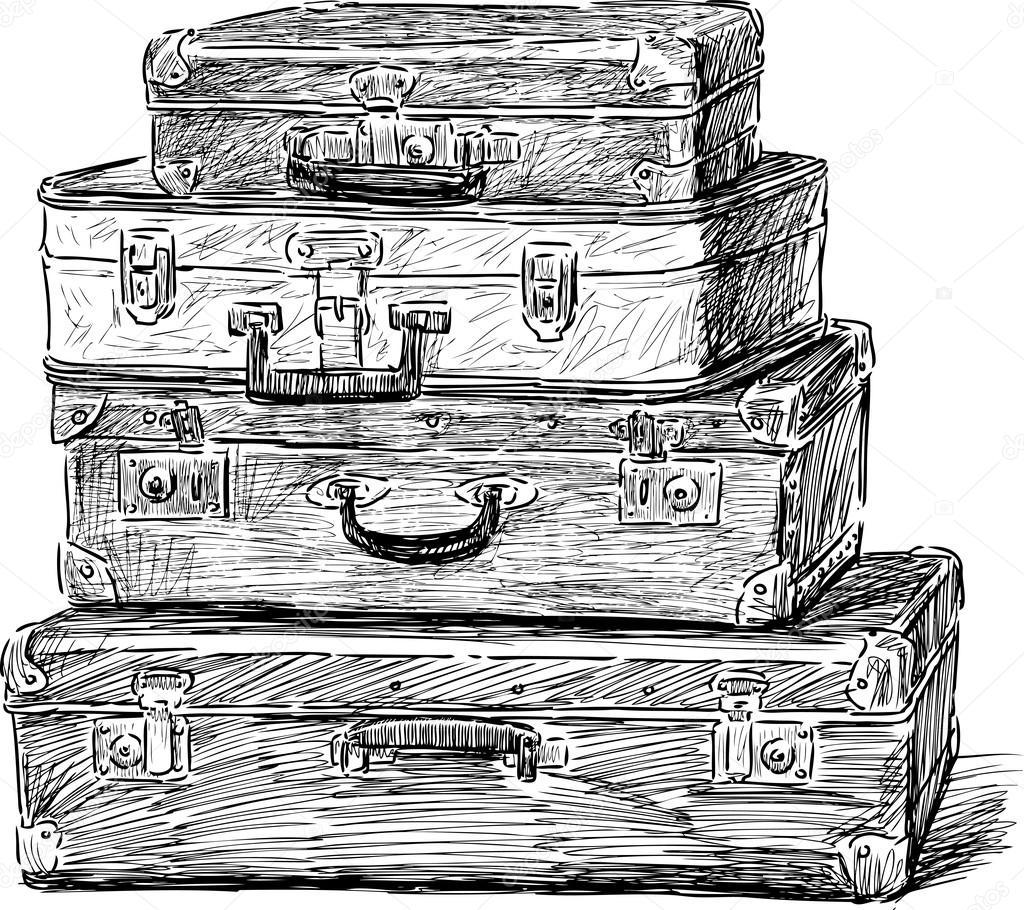 Vieilles valises image vectorielle alekseimakarov - Dessin de valise ...