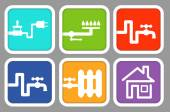 Utility icons: electricity, gas, cold water, hot water, heating and house — Stock Vector