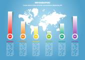 Geschäft Infographik mit Weltkarte und Prozent — Stockvektor