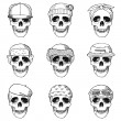 Set of hand drawn skulls with hats — Stock Vector #82807980