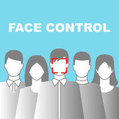 Face Control Icon with people — Stock Vector