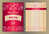 Cafe menu with hand drawn doodle elements — Stock Vector
