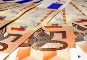 Euro banknotes, fifty — Zdjęcie stockowe