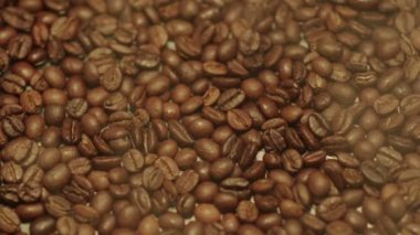 Steamy coffee beans — Stock Video