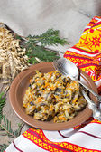 Lenten stewed cabbage with mushrooms  — Stock Photo