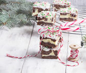 Christmas brownies with chocolate and cream cheese  — ストック写真
