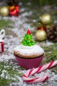 Festive  Christmas cupcake with tree — Stock Photo