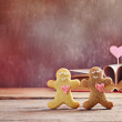 Valentine cookies gingerbread man with heart — Stock Photo #64902675