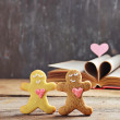 Valentine cookies gingerbread man with heart — Stock Photo #64902691
