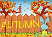Four seasons, autumn — Stock Vector