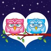 Owls in love — Stockvektor