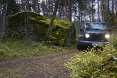 Jeep Wrangler in the autumn forest, Russia — Stock Photo