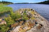 Rainbow on lake Ladoga, Karelia, Russia — Stock Photo