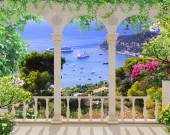 Terrace with sea view — Stock Photo
