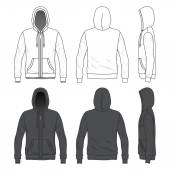Front, back and side views of blank hoodie with zipper — Stock Vector