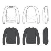 Front, back and side views of blank raglan long sleeve sweatshir — Stock Vector