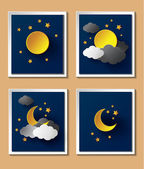Abstract paper weather with moon at nightfall. — Stock Vector