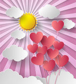 Vector illustration  sunshine with balloon heart. — Stock Vector