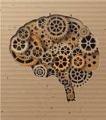Human brain build out of cogs and gears — Stock Vector