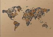 Vector World map  Brown Cardboard — ストックベクタ