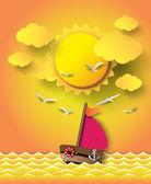 帆船和云与日落. — 图库矢量图片