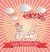 Valentines day. Abstract paper love hearts — Stock Vector