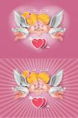 Cute boy and girl cupids. — Stock Vector