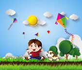 kid playing with kite — Stock Vector