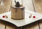 Fetta di torta al cioccolato — Foto Stock