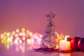 Christmas tree and candlelight .Romantic new year night and boke — Stock Photo