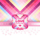 Valentine day card and background.Vector template of invitation — Stock Vector