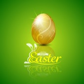 Happy easter with golden egg.Hand lettering.vector illustration — Stock Vector